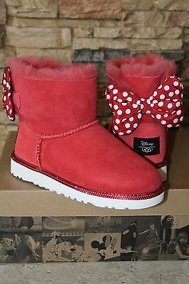 NIB UGG Australia DISNEY SWEETIE BOW MINNIE MOUSE Suede Boots RED $205 RARE!