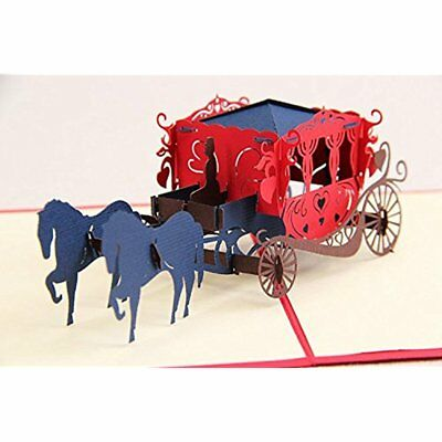 3D Pop- up Greeting Card Horse Carriage By Chinese Paper-Cut Art 10x15cm Gift