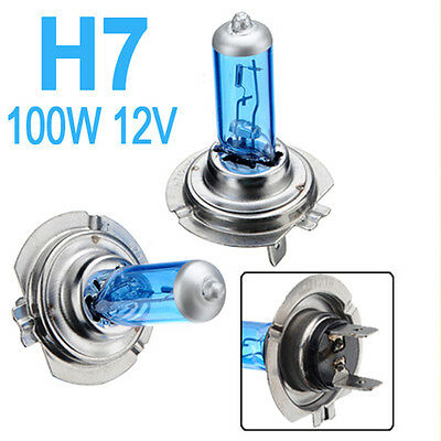 2x H7 100W HID Super White Car Main Beam Headlight Head Light Lamp Fog Bulb 12V