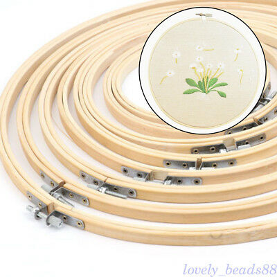 13-34cm Wooden Round Cross Stitch Machine Embroidery Hoop Ring Bamboo Sewing DIY