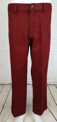 "Vtg 90s Flat Front Crimson ""Haggar"" Preppy Cotton Chino Trousers Khakis W34 ED29"