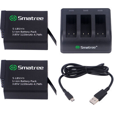 Smatree Battery (2-Pack) With 3-Channel Charger for Gopro HERO 6 Camera