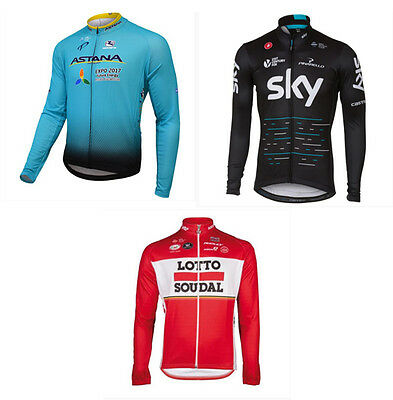 Kit Ciclismo Invernale Sky Astana Lotto Soudal Giacca Maniche Lunghe Thermal