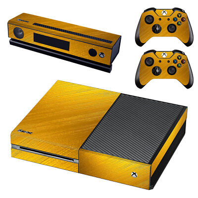 XBox One Console Skin Sticker Protector New Gold + 2 Controllers
