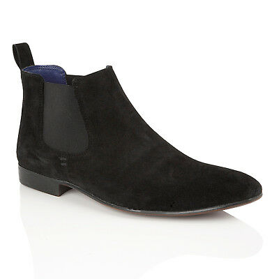 Mens Silver Street Carnaby Black Suede Ankle Chelsea Boots with Paisley Gusset