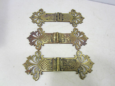 3 Vintage Made in England Fancy Brass Specialty Hinges
