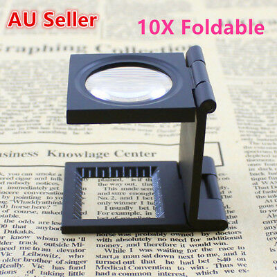 New High Quality 10x Folding Magnifier with 2x LEDs and 1mm Scale AU
