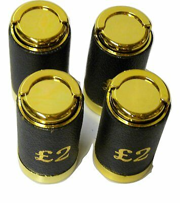 Two Pound £2 Coin Holder Gadget Holds Up to 15 Coins Gold & Black Leather