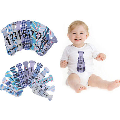 24pcs/Set Baby Monthly Necktie Milestone Stickers Baby Shower Photo Props