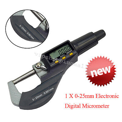 Digital Electronic Outside Micrometer Carbide Tip 0-25mm LCD Absolute Measuring