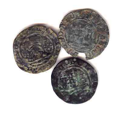 "Cincin 19.Rare lot 3 Coins  Portugal Medieval,to identify (two ""P"")uncleaned"