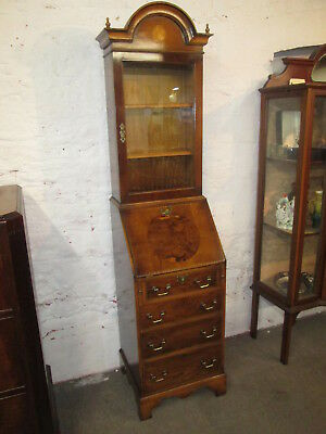 Nice Quality Georgian Style Inlaid Yew Bureau Bookcase Of Narrow Proportions
