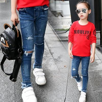 Girls Kids Ripped Knee Cut Denim Jeans Slim Pants Trousers Skinny Denim Fashion