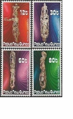 Papua New Guinea 1985 WOOD CARVINGS (4) Unhinged Mint SG 512-5