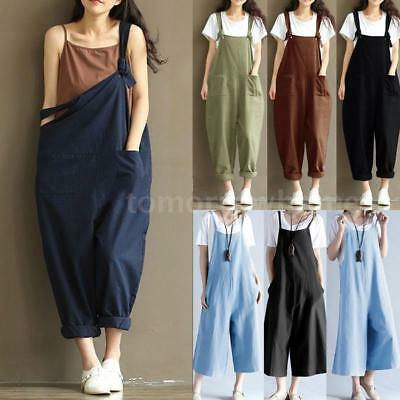 ce817625556e Women s Casual Loose Linen Pants Cotton Jumpsuit Harem Trousers Overalls  W0I7
