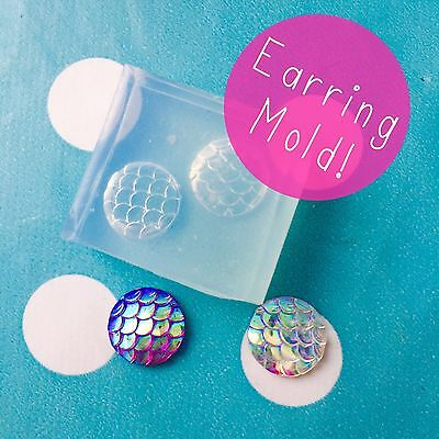 EARRING MOLD - 12mm Mermaid Scale Cabochons Resin Silicone Stud Earrings Mould