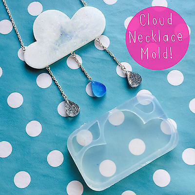 SILICONE MOLD - Rain Cloud Necklace Mould Resin Kit Statement Jewellery Weather