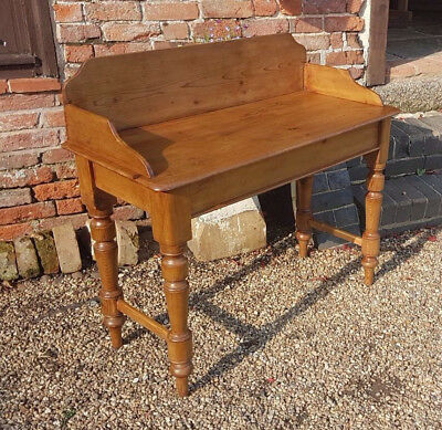 Victorian Rustic Pine Washstand - Hall Table - Desk -Console Table