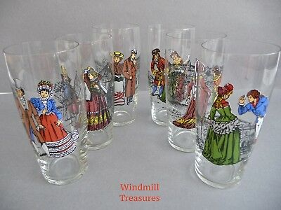 Set Of 6 'courting Couples' Through The Ages Tumblers Glasses - Fab Condition