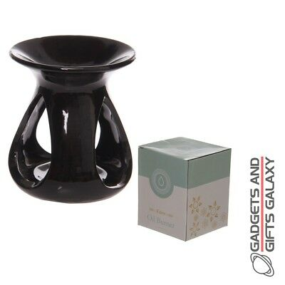 SIMPLE ABSTRACT HIGH GLOSS BLACK CERAMIC OIL BURNER DECORATION Home decor acc