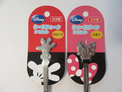 Disney Mickey Minnie Cake Fork Tea Spoon Ribbon Kichen Item 2Pcs F/S