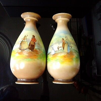 Vintage Two beautiful porcelain hand-painted vases