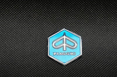 VESPA Piaggio Mini Adhesive Hexagon Badge Blue.