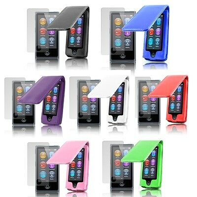 PU Leather Flip Case Cover Apple iPod Nano 7G 7th Generation & Screen Protector