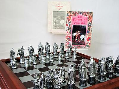 """VINTAGE CHESS SET DANBURY MINT 1990s """"CAMELOT"""" PEWTER +ORG  WOODEN CHESS CABINET"""