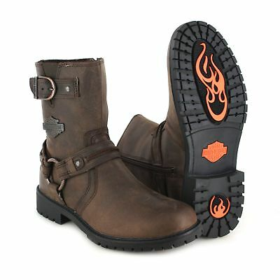 Harley Davidson Mens Abner Leather Mid Cut Motorcycle Boots Brown D93352