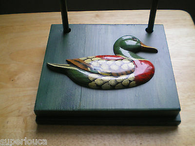 HANDMADE NAPKIN HOLDER DUCK GREEN TINTED Hunter GIFT PROTECT OUTSIDE WIND SIZE !