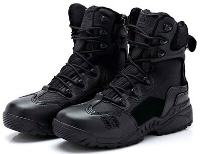 New Tactical Military Black Leather Combat Boots Size 6 7 8 8.5 9 9.5 10 Rrp £40