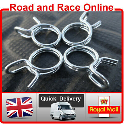 Pack Of 4 Fuel Line Petrol Pipe Fuel Hose Clips / Clamps 10mm Spring Wire Type