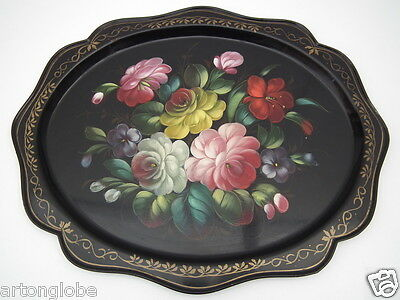 black tole tray 19 th century Signed