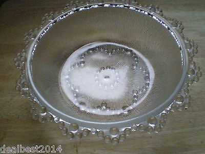 """Vintage Glass Hobnail Plate Clear Glass Dish Round Shallow Bowl 10 """""""
