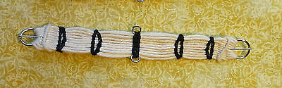 SALE Unicorn Woman's Hand Woven Western Girth Off-white w/Black Breyer stone