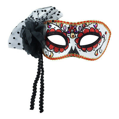 Blue Banana Multicoloured Day of the Dead Glitter and Trim Mask Halloween Prop
