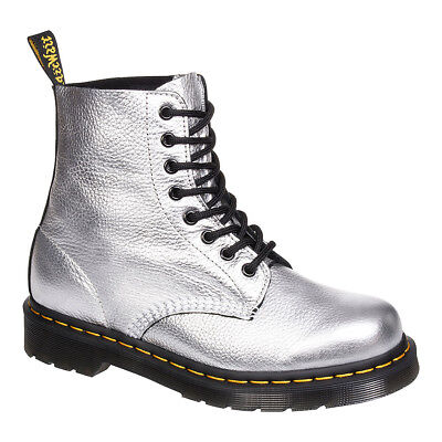 Dr Martens Silver Metallic Pascal Boots, Classic Airwair Unisex Leather Footwear