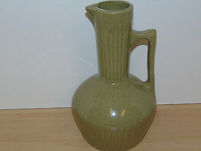 Monmouth Pottery Olive Green Speckled Stoneware Pitcher-Excellent Condition