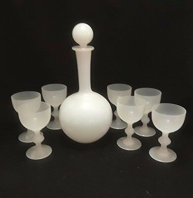 Portieux Vallerystahl PV France White Opaline Decanter and 7 Cordial Glasses VTG