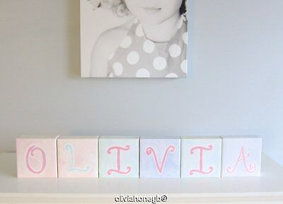 "Pottery Barn Kids Baby CANVAS WALL ART PASTEL LETTER BLOCKS Set of 6 "" OLIVIA """
