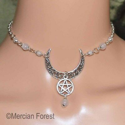 Ornate Crescent Moon Pentacle Choker - Handmade Pagan Jewellery, Wiccan, Witch