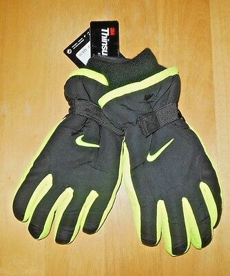Nike Black/ VOLT Ski Gloves 3M Thinsulate Insulation Boys Size Youth 8/20 New