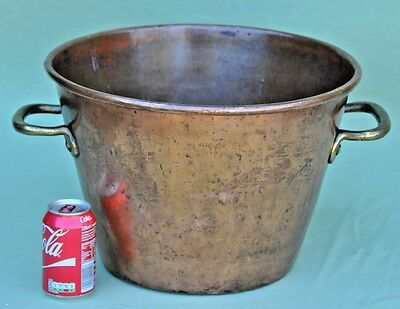 "Vintage16"" Large Heavy Copper & Brass Log Basket Coal Bucket Cauldron Planter"