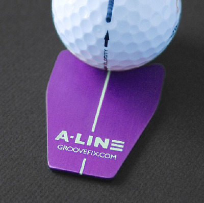 New GrooveFix Golf laser engraved aluminium A-Line align ball marker - purple