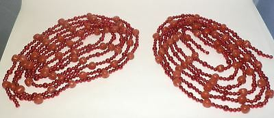 2 Vintage Red Bead and Sugared Gumdrop Christmas Garland 24' Total