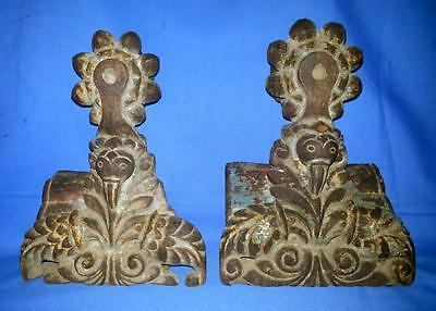 Antique Old Wood Hand Carved Blue Paint parrot Figure Door Panel Collectible EDH