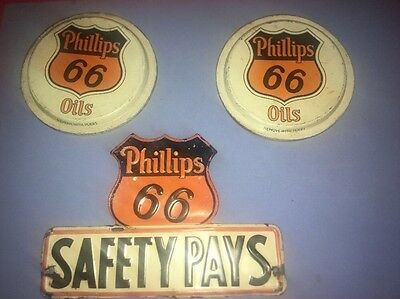 Vintage Items 3 Lot Phillips 66 Gas advertising License Plate Topper Oil Can Lid
