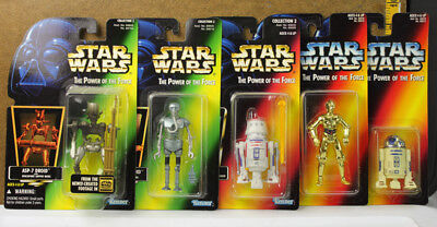 Lot of 5 Star Wars Power of the Force Action Figures Droid C-3PO R2-D2 R5-D4