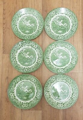 Broadhurst England porcelain green and white plate,set of 6, 22 cm wide,Willow